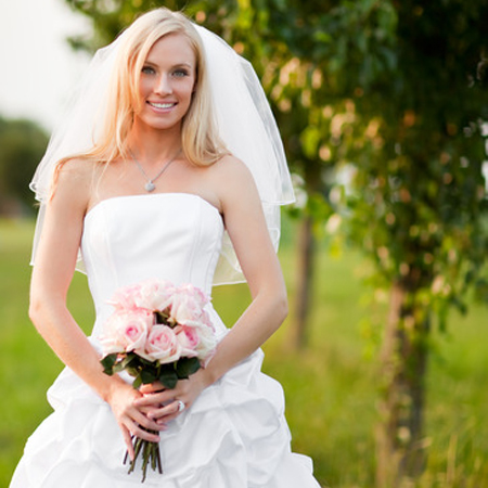 Wedding dress alterations bride with dress