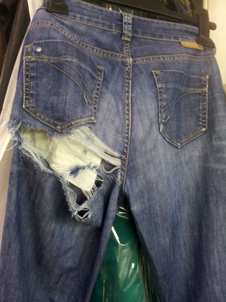 torn denims to be repaired