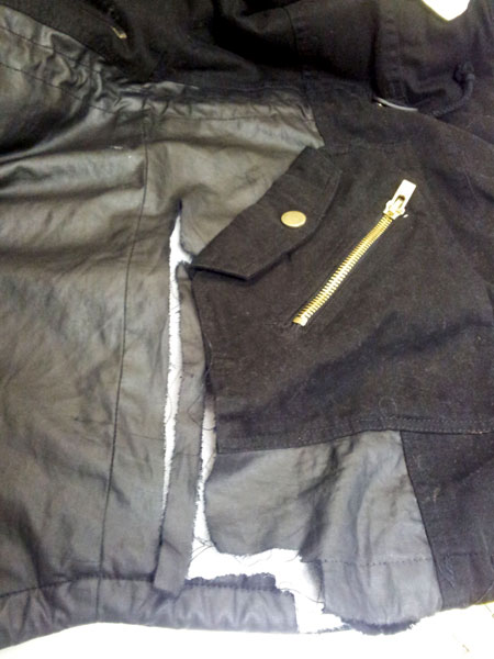 leather repair torn jacket - before repair